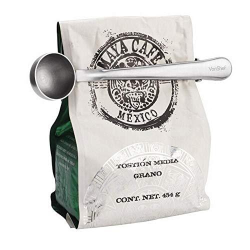 Buy 1Pc Stainless Steel Coffee Scoop With Clip Coffee Tea Measuring Scoop Cup Ground Measuring Scoop...