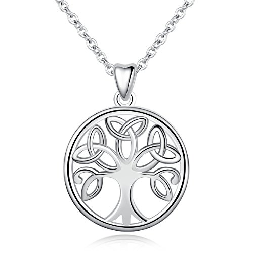 INFUSEU Circle Celtic Tree of Life Necklace Women Sterling Silver Irish Charm Trinity Knot Jewelry for Ladies Girls Neckless