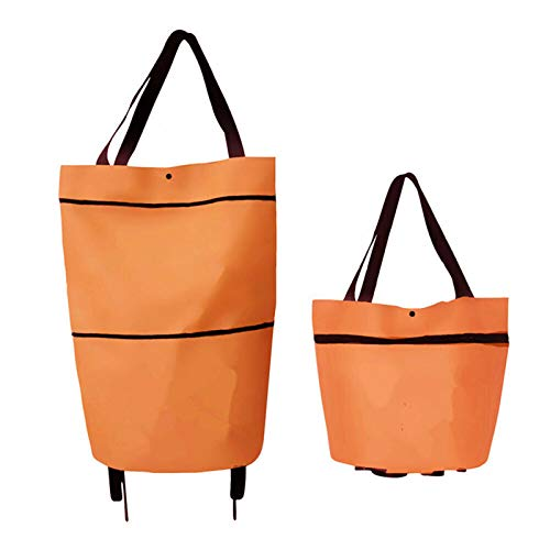Foldable Shopping Bag with 2 Wheels Portable Women Shopping Trolley Cart Reusable Large Waterproof Bag (Orange)