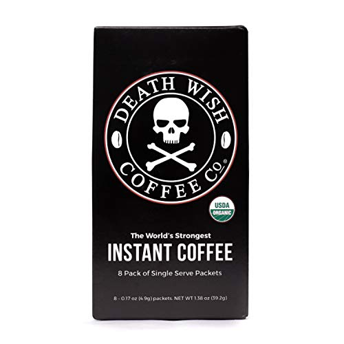 DEATH WISH COFFEE Instant Coffee Sticks [8 packs of single-serve packets | 4.9 g | 300mg of Caffeine] The World's Strongest Coffee, USDA Certified Organic