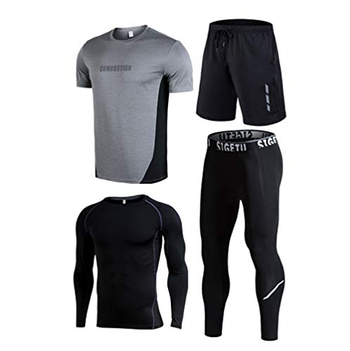 Herren Fitness Bekleidung, Schnelltrocknende Strumpfhose Training Running Sportswear Vierteilig-C-5XL