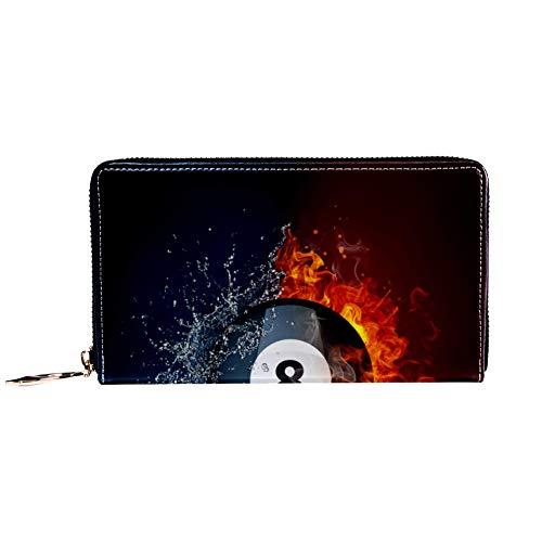 Damen Geldbörse mit Reißverschluss und Handy, Geldbörse mit Billiard-Ball im Feuer und Wasser Muster, Reise-Geldbörse aus Leder