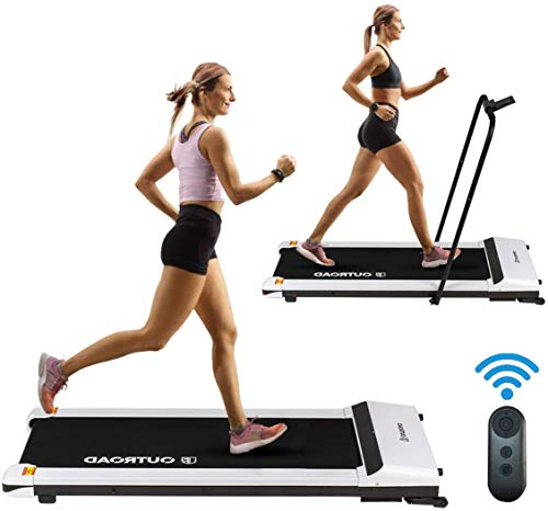 FACETHEWIND Folding Treadmill with LED Display, Ipad/Phone Holder and Remote Control Portable White Walking Machine with Wheels for Home Office Use