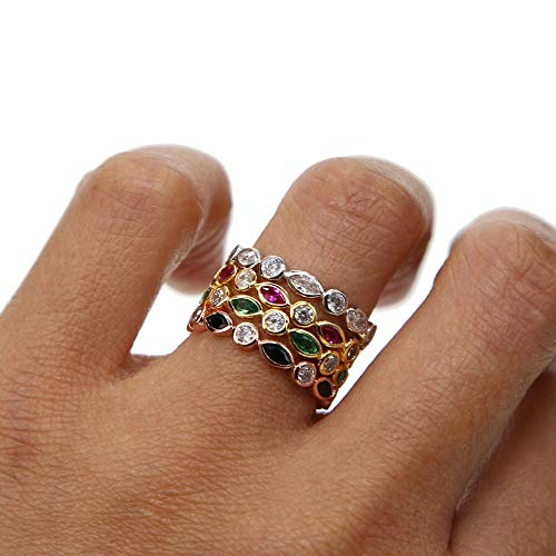 Colorful Stone Hot Style Blue Black Red Green Stones Cz Zircon Engagement Cz Eternity Women Band Stacking Rings For Wedding