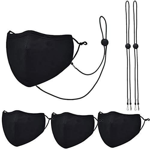 3 Packs Cotton Face Mask,Adjustable Earloop, Washable and Reusable (Black Black Black)