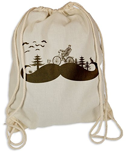 Moustache Land - Gymsac Turnbeutel - Stoffbeutel Hipster Sportbeutel Rucksack Tasche Bart Schnurbart Biker