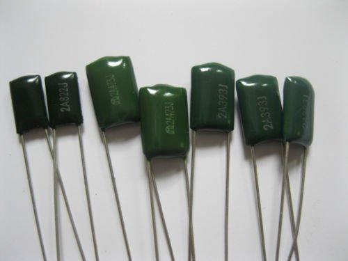 capacitors 10 Values 100pcs Polyester Poly Film Capacitors Assortment Kit 1nF~100nF