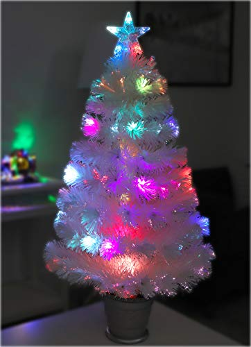 Christmas Concepts 3ft (36 Inch) Fibre Optic Irridsecent Christmas Tree with LED Lights (Irridescent Colour Change)