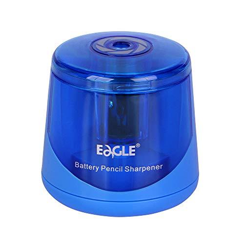 Eagle Electric Pencil Sharpener, Battery Operated, Large Shaving Holder, Double Blade Design, Blue