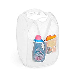 Smart Design Deluxe Mesh Pop Up Square Laundry Hamper w/ Side Pocket & Handles - VentilAir Fabric Collapsible Design - for Clothes & Laundry - Home - (Holds 2 Loads) (14 x 23 Inch) [White] (B002V919A8) | Amazon price tracker / tracking, Amazon price history charts, Amazon price watches, Amazon price drop alerts