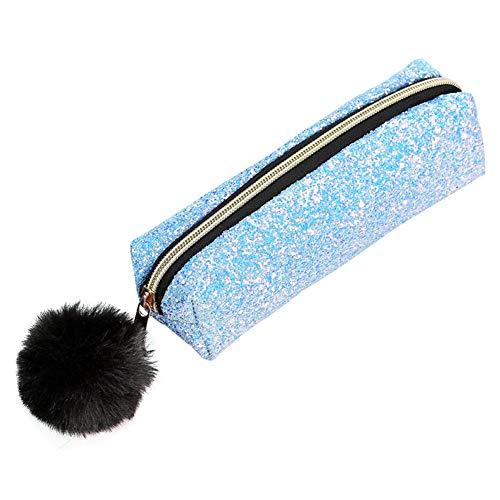 iSpchen Cute Style Trousse Scolaire Poche Kit Trousses Cosmétique Sac Petite Trousse Toilette Pencil Holder pour Garçon Fille Ado(Bleu Clair)