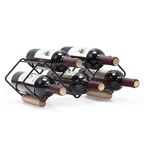KINGRACK Tabletop Wine Rack, 5 Bottle Wine Holder Storage Stand with Stylish Design, Perfect for Home Decor, Bar, Wine Cellar, Basement, Cabinet, Pantry-Set of 1, Wood & Metal(Copper)
