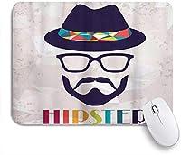 KAPANOUマウスパッド メガネの口ひげとグランジのひげの帽子の肖像画で流行に敏感な抽象的な男 ゲーミング オフィ良い 滑り止めゴム底 ゲーミングなど適用 マウス 用ノートブックコンピュータマウスマット