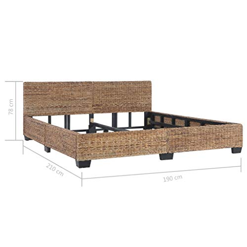 Tidyard Cadre de Lit en Rotin Construction Solide Style Naturel 180 x 200 cm