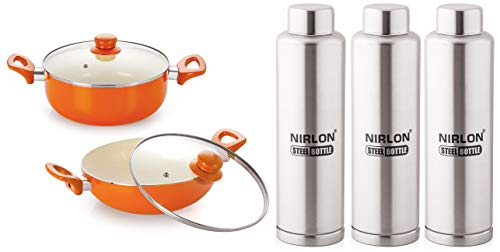 Nirlon Non-Stick Induction Ceramic Cookware Set, 2-Pieces, Orange