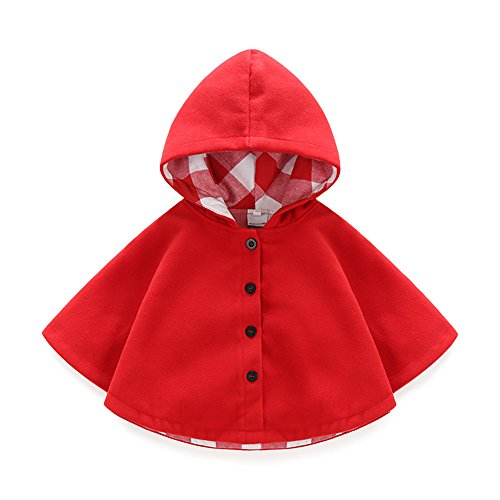 Boarnseorl Newborn Baby Boy Baby Girl Unisex Clothes Cotton Hooded Red Cloak 6-9 Months