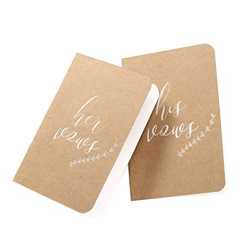 AKITSUMA Vow Books, Wedding Vows Book, His and Hers Vow Book, Brown Kraft Paper Set of 2, US-AKI-012 (Kraft)