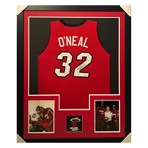 Shaquille O'Neal Signed Miami Framed Vertical Layout Pro Edition Red Jersey (JSA - Autographed NBA Jerseys