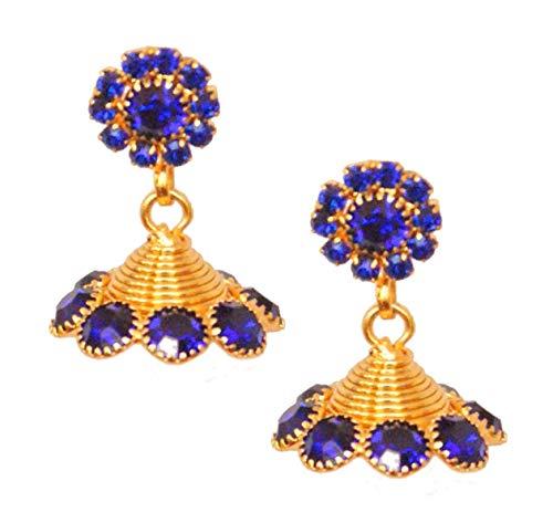 Pahal - Pendientes tradicionales de oro azul marino con diseño de bollywood indio, para mujer