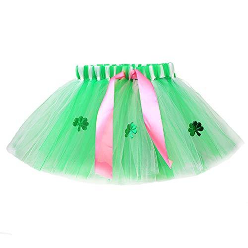 Amosfun St Patricks Day Tutu Rock Mädchen Ballerina Rock Kostüm Kleeblatt Klee Bogen Tanzen Rock für Baby Mädchen Neugeborenen Kleinkinder 30 cm