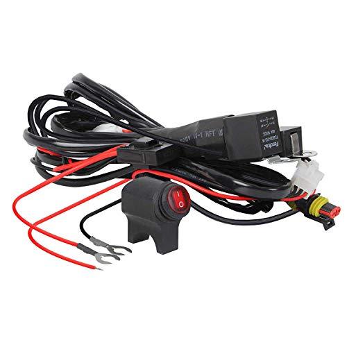 Kairiyard Cable de Arnés de barra LED Luces Auxiliares de motocicleta 3M 480W 14AWG Cableado Impermeable Con Relé e Interruptor Universal Para Automóvil SUV ATV Camión 1 Cable de Control 2 Lámpara