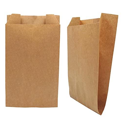 100stk Papiertüten Braun 15 x 29 x 5 cm Papierfaltenbeutel, Kraftpapiertüten, Bäckerfaltenbeutel, DIY Adventskalender, braune Beutel (15 x 29 x 6 / 50g/m2, Braun)