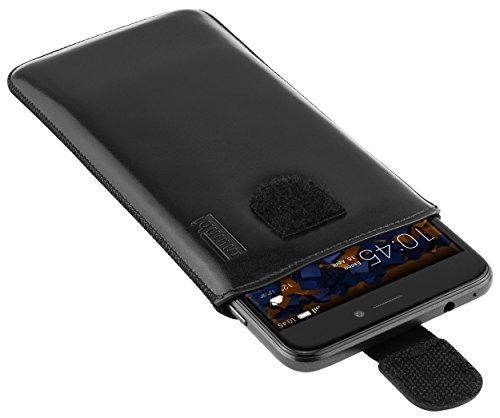 mumbi Echt Ledertasche kompatibel mit Huawei Ascend Y200 Hülle Leder Tasche Case Wallet, schwarz - 3