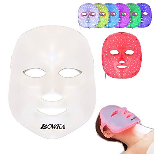 BOWKA LED Gesichtsmaske, Licht Photon Gesicht Spa Hautpflege Haut straffen für Hautverjüngung Faltenbehandlung Anti Akne, Anti Falten, whitening, Anti blemish, Sommersprossen entfernen