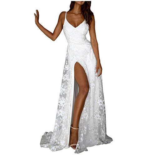 MAYOGO Kleid Damen Festlich Weiß Spitzenkleid Hoch Geschnitten Rückenfrei Spaghetti Kleid V-Ausschnitt Partykleid Abschlussball Kleider Abendkleider Cocktailkleid