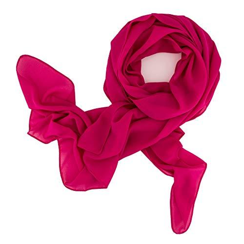 DOLCE ABBRACCIO by RiemTEX ® Schal Damen SWEET LOVE Stola Chiffon Tuch in 30 Unifarben Schals und Tücher Halstücher XXL Chiffontücher Halstuch in modischem Magenta für jede Jahreszeit (Magenta)
