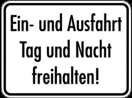 Schild Alu Ein- und Ausfahrt Tag und Nacht freihalten! 300x400mm