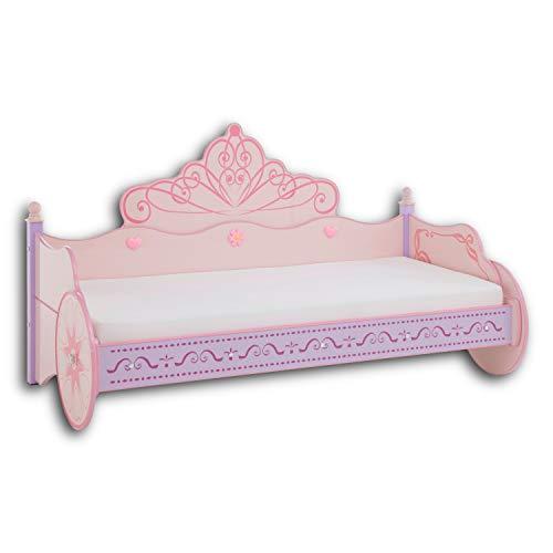 Stella Trading PRINCESS Kinderbett Mädchen mit 90 x 200 cm Liegefläche - Königliche Kutsche als Bett für kleine Prinzessinnen - 105 x 120 x 212 cm (B/H/T)
