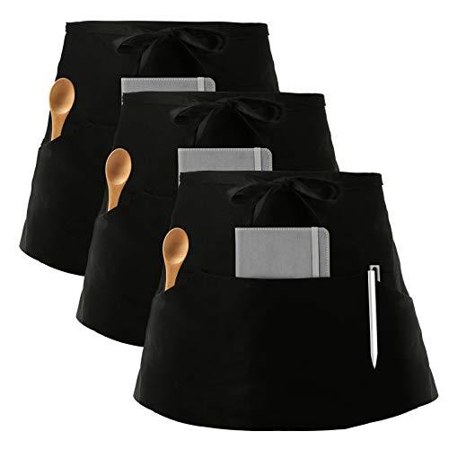 InnoGear 3 Stücke Vorbinder Schürze, Taillen Schürze mit 3 Taschen, Kellnerschürze Bistroschürze Kochschürze Backschürze für Restaurant, Bar (Schwarz)