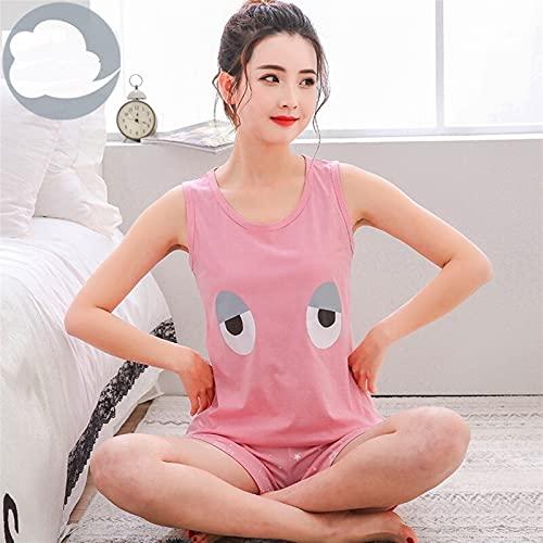 Pijamas de dibujos animados Mujer chaleco de verano 2 PCS conjunto Pantalones cortos + Tops de manga corta Pijamas Establece ropa de dormir de algodón (Color : Gray, Size : Medium)