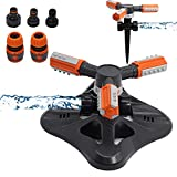Lawn Sprinklers for Yard 360 Degree Automatic Rotation Garden Water Sprinklers Lawn Irrigation System 4500 Square Feet Coverage Adjustable Angle Sprinkler for Kids Playing with 2 Different Bases