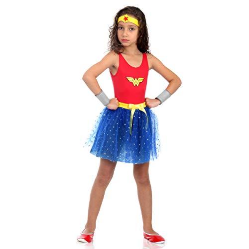 Sulamericana Fantasias Mulher Maravilha - Dress Up Infantil, M 6/8 Anos, Vermelho/Azul