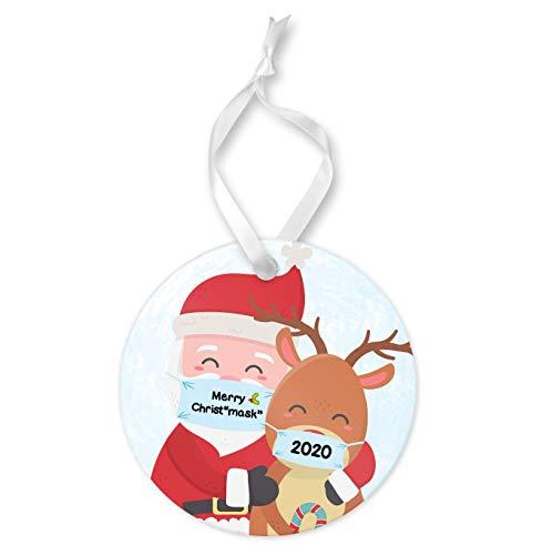 None-brands Navidad ornamento 2020 ChristMASK 2020 Papá Noel y reno, adorno redondo de cerámica y cinta, decoración de Navidad en cuarentena recuerdo enmascarado Papá Noel reno, árbol de Navidad