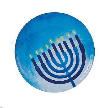 Chanukah Serving Tray for Parties - Sahpphire Collection (Round Melamine Serving Plate)
