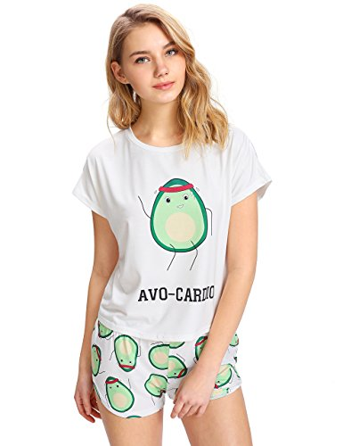 Floerns Women's Cute Graphic Print Sleepwear Tops and Shorts 2 Piece Pajama Sets A White L