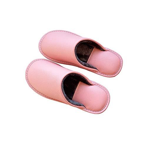 XVXFZEG Algodón de las mujeres de pelo, piel de ante de la guarnición, espesado antideslizante de PVC Sole, apto for uso interior y al aire libre, zapatos de cuero de vaca rosada for el hogar, imperme