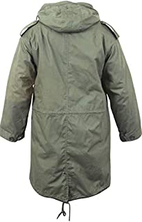 Jacekt Military M-51 Fishtail Parka Hooded Army Field Winter Jacket Long Tail Trench Olive Drab Color Size S Get 1 Pcs