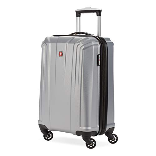 SwissGear 3750 Hardside Expandable Luggage with Spinner Wheels, Silver, Carry-On 20-Inch