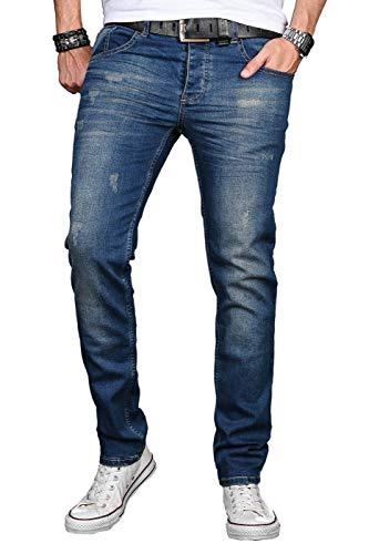 Alessandro Salvarini A. Salvarini Herren Designer Jeans Hose Stretch Basic Jeanshose Regular Slim, Deep Blue Used, 33W / 30L
