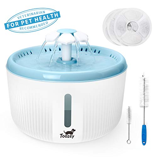 Toozey Water Fountain for Cats, Cat Water Fountain, 2L Pet Fountain with Water Level Window and 3 Replacement Filters, Automatic Quiet Cat Water Dispenser, Water Fountain for Cats and Dogs