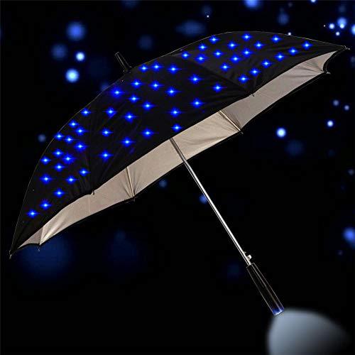 TWSJHGFV 23 Zoll Outdoor Cool langstielige LED blinkt Regen Regenschirm Nachtschutz Mode Geschenk großen Griff geraden Blitz Sonnenschirm