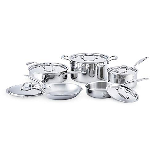 Heritage Steel 10 Piece Cookware Set - Titanium Strengthened 316Ti Stainless Steel with 5-Ply Construction - Induction-Ready and Fully Clad, Made in USA