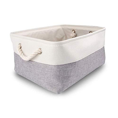 Mangata aufbewahrungskorb Stoff, aufbewahrungsbox groß Schrank, Korb aufbewahrung Stoff mit Seil für Spielzeug, kleiderschrank, Regale, Kleidung (Faltbare, Grau Weiß)