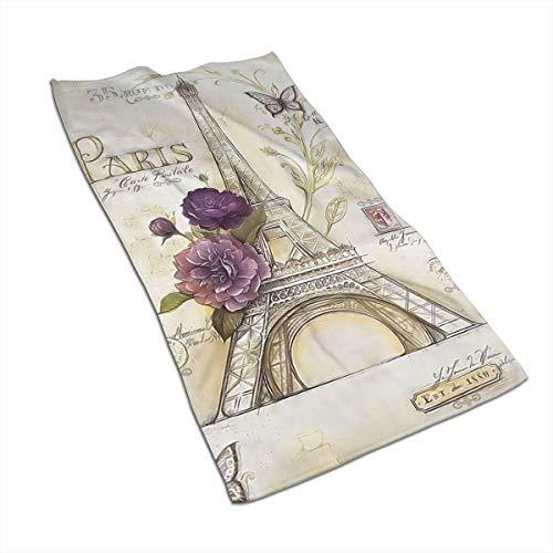 Antvinoler - Toallas de microfibra para baño, accesorios de baño, diseño vintage de París con temática de la Torre Eiffel, color marrón azulado, 27,5 x 39,7 pulgadas, color blanco