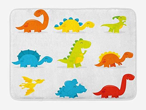 Dinosaurier Badematte, süß und lustig Dinosaurier Arrangement Set Cartoon-Stil buntes Thema Kindergarten Kinder, Plüsch Badematte mit Antirutsch-Halter, Mehrfarbig