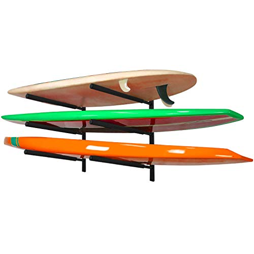 """Yes4All Heavy Duty Steel Wall Mount Paddle Board Racks, Surfboard Hanger with Padded Foam, Store & Display Up to 3 Surfboards, Snowboards, Longboards, Black, 34.25"""" x 5.51"""" x 3.54"""""""